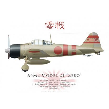 Mitsubishi A6M2 Model 21 Zero, Lt Yoshio Shiga, Kaga, Pearl Harbor attack, 7 December 1941