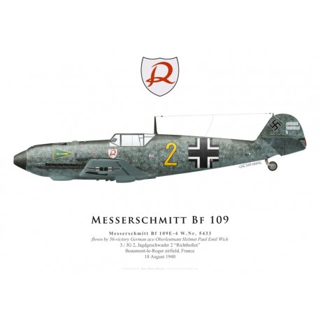 Messerschmitt Bf 109E-4 WkNr 5433, Oblt. Helmut Wick, 3./JG 2, août 1940
