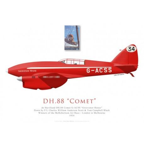 "de Havilland DH.88 Comet ""Grosvenor House"", G-ACSS, C. W. A. Scott & T. Campbell Black, McRobertson air race, 1934"