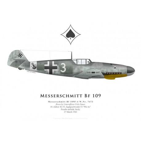 Messerschmitt Bf 109F-4, Uffz Felix Sauer, 10. (Jabo)/JG 53, 1942