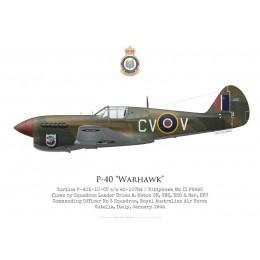 Curtiss P-40F / Kittyhawk Mk II FS490, S/L Brian Eaton, commandant du No 3 Squadron RAAF, Italie, 1943