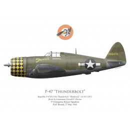 "Print of the Republic P-47D Thunderbolt 42-22472 ""Shamrock"", Lt Gerald Devine, 5th Emergency Rescue Squadron, 1944"