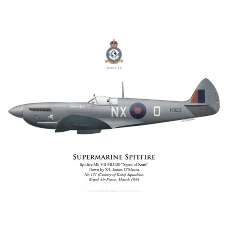 """Spitfire Mk VII """"Spirit of Kent"""", S/L James O'Meara, No 131 (County of Kent) Squadron, Royal Air Force, March 1944"""