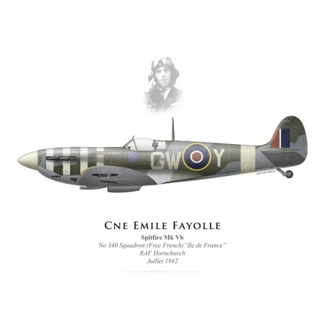 "Spitfire Mk Vb ""Général de Gaulle"", Cne Emile Fayolle, No 340 (Free French) Squadron, Royal Air Force, juillet 1942"