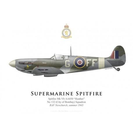 "Supermarine Spitfire Mk Vb AA850 ""Heather"", No 132 Squadron, RAF Newchurch, summer 1943"