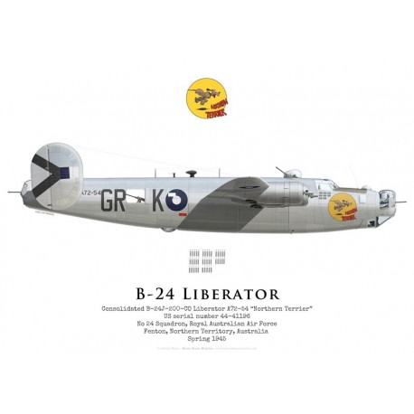 """Consolidated B-24J Liberator A72-54 """"Northern Terrier"""", No 24 Squadron, Royal Australian Air Force, 1945"""
