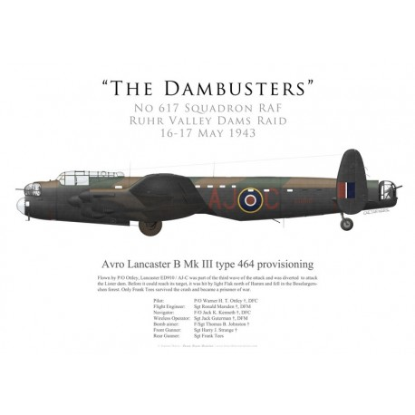 Avro Lancaster Mk III type 464 provisioning ED910, P/O Ottley, No 617 Squadron RAF, Opération Chastise, 16 mai 1943