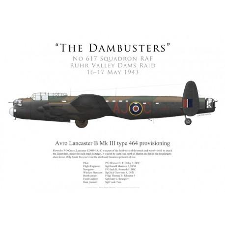 Avro Lancaster Mk III type 464 provisioning ED910, P/O Ottley, No 617 Squadron RAF, Opération Chastise, 16 mai 1943