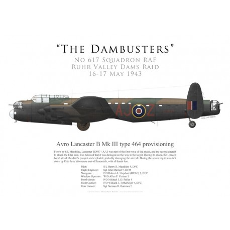 Avro Lancaster Mk III type 464 provisioning ED937, S/L Maudslay, No 617 Squadron RAF, Operation Chastise, 16 May 1943