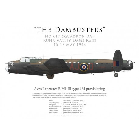 Avro Lancaster Mk III type 464 provisioning ED886, F/S Townsend, No 617 Squadron RAF, Opération Chastise, 16 mai 1943