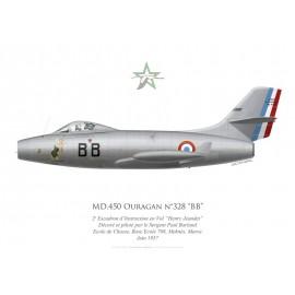 "MD.450 Ouragan n°328 ""BB"", 2e Escadron d'Instruction en Vol ""Henry Jeandet"", BA 708 Meknès, 1957"