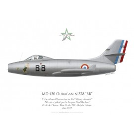 "MD.450 Ouragan n°328 ""BB"", 2e Escadron d'Instruction en Vol ""Henry Jeandet"", French airforce, Morocco, 1957"
