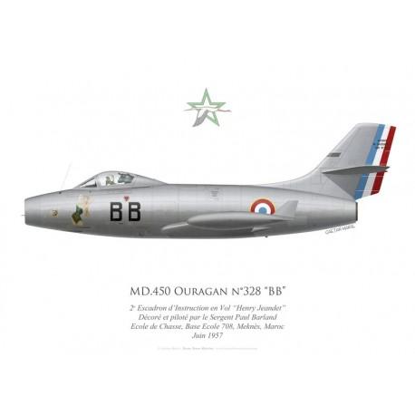 "MD.450 Ouragan ""BB"", 2e Escadron d'Instruction en Vol ""Henry Jeandet"", BA 708 Meknès, 1957"