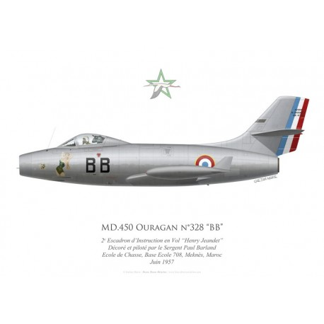 "MD.450 Ouragan ""BB"", 2e Escadron d'Instruction en Vol ""Henry Jeandet"", French airforce, Morocco, 1957"