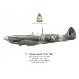 Spitfire Mk VII, F/L Jack Cleland, No 616 (South Yorkshire) Squadron, Royal Air Force, mai 1944