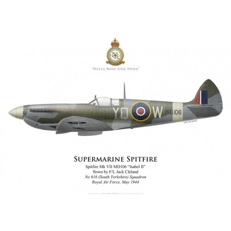 Supermarine Spitfire Mk VII MD106, F/L Jack Cleland, No 616 (South Yorkshire) Squadron, Royal Air Force, mai 1944