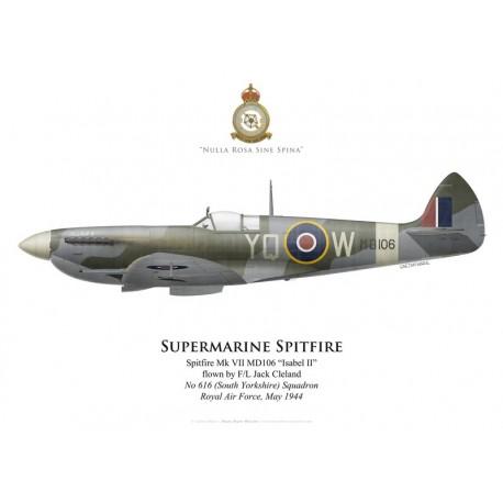 Supermarine Spitfire Mk VII MD106, F/L Jack Cleland, No 616 (South Yorkshire) Squadron, Royal Air Force, May 1944