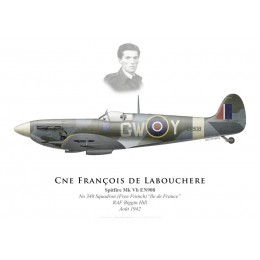 "Spitfire Mk Vb, Cne Francois de Labouchere, GC n°2 ""Ile-de-France"", No 340 (Free French) Squadron, 1942"