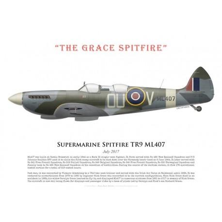 """Supermarine Spitfire TR9 ML407, """"The Grace Spitfire"""", juillet 2017"""