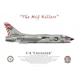 """F-8E Crusader, Cdr Harold Marr & Lt(jg) Phil Vampatella, VF-211 """"Fighting Checkmates"""", USS Hancock, juin 1966"""