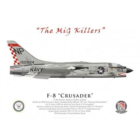 """F-8E Crusader, Cdr Harold Marr & Lt(jg) Phil Vampatella, VF-211 """"Fighting Checkmates"""", USS Hancock, June 1966"""