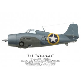 "F4F-4 Wildcat, Lt(jg) ""Windy"" Shields, VF-41, USS Ranger, Operation Torch, 1942"