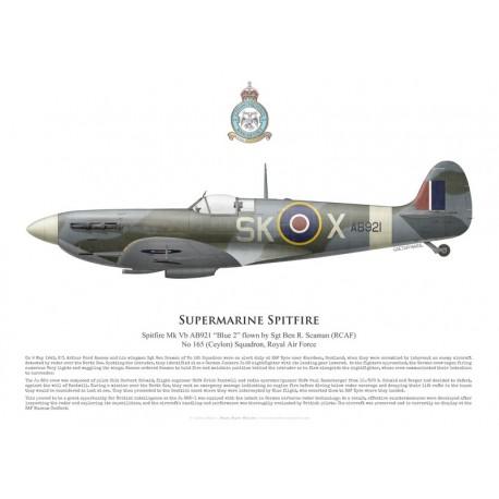 Supermarine Spitfire Mk Vb AB921, Sgt Ben Scaman, No 165 (Ceylon) Squadron, Royal Air Force, mai 1943