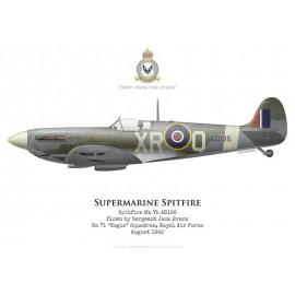 "Spitfire Mk Vb, Sgt Jack Evans, No 71 ""Eagle"" Squadron, Royal Air Force, août 1942"