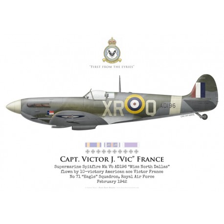 "Supermarine Spitfire Mk Vb AD196, Capt Victor France, No 71 ""Eagle"" Squadron, Royal Air Force, February 1942"