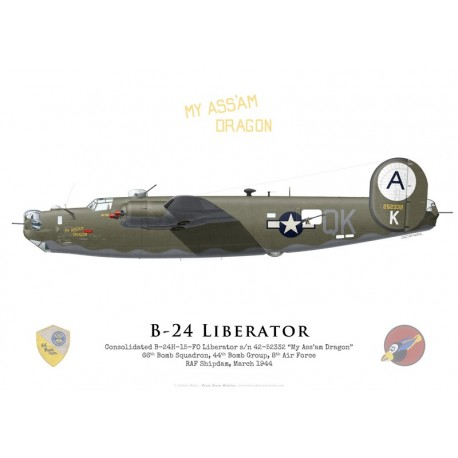 """Consolidated B-24H """"My Ass'Am Dragon"""" 42-52332, 66th Bomb Squadron, 44th Bomb Group, 8th Air Force, 1944"""