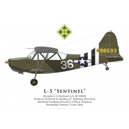 Stinson L-5 Sentinel 42-98593, Lt David Condon, 4th Infantry Division, Normandie, 7 juin 1944