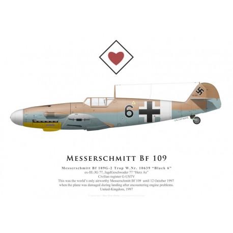 """Messerschmitt Bf 109G-2 Trop, """"Black 6"""", G-USTV, 1997"""