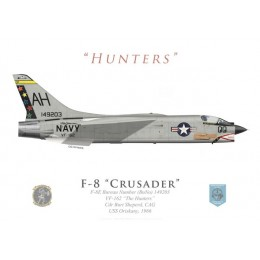 """F-8E Crusader, VF-162 """"The Hunters"""", Cdr Burt Sheperd, CAG USS Oriskany, 1966"""