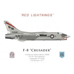 "F-8J Crusader, VF-194 ""Red Lightnings"", Commander Air Group, NAS Miramar, 1971"