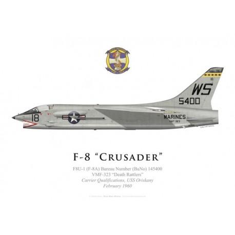 "F-8A Crusader, VMF-323 ""Death Rattlers"", USS Oriskany, Fevrier 1960"
