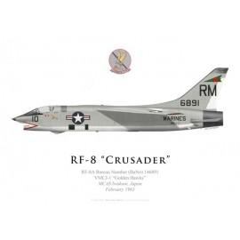 "RF-8A Crusader, VMCJ-1 ""Golden Hawks"", MCAS Iwukani, Japon, février 1963"