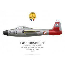 """F-84G Thunderjet, Patrouille de France 1953, Escadron de Chasse 1/3 """"Navarre"""""""