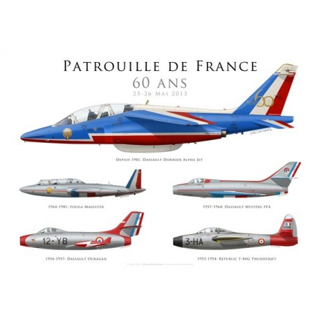 Print Spécial 60 ans de la Patrouille de France, numéroté et signé