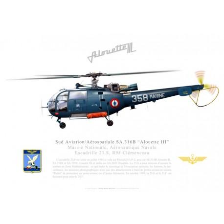 "SA.316B ""Alouette III"", Escadrille 23.S, R98 Clémenceau"
