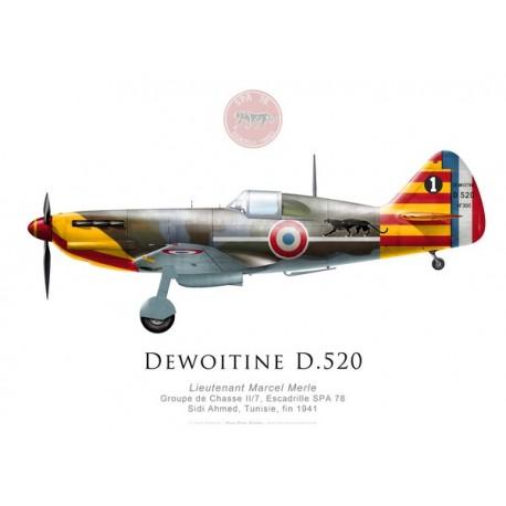 Dewoitine D.520, Lt Marcel Merle, GC II/7, SPA 78, Tunisie, fin 1941