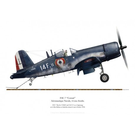 F4U-7 Corsair, Flottille 14.F, French Navy, Bois-Belleau aircraft carrier, Indochina, 1954