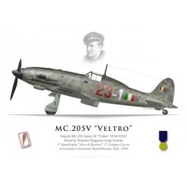 """MC.205 Series III, Luigi Gorrini, 1a Squadriglia """"Asso di bastoni"""", 1° Gruppo de Caccia, 1944"""