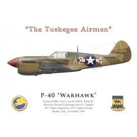 """P-40L Warhawk, 2Lt Alva Temple, 99th FS, 332nd FG """"Tuskegee Airmen"""", Italie, 1943"""