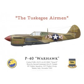 "P-40L Warhawk, 2Lt Alva Temple, 99th FS, 332nd FG ""Tuskegee Airmen"", Italy, 1943"