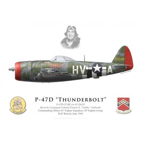 """P-47D Thunderbolt, Lt. Col. """"Gabby"""" Gabreski, 61st FS, 56th FG, juin 1944"""