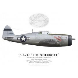 "P-47D Thunderbolt ""Big Bastard"", Clifford Martin, 33rd FS, 24th CW, Islande, 1944"