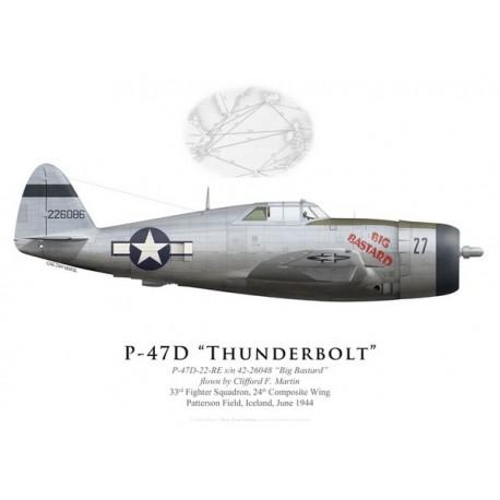 "P-47D Thunderbolt ""Big Bastard"", Clifford Martin, 33rd FS, 24th CW, Iceland, 1944"