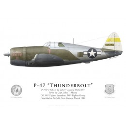 """P-47D Thunderbolt """"Daring Dottie III"""", Capt. John T. Moore, CO 341st FS, 348th FG, New Guinea, 1944"""