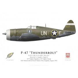 """P-47C Thunderbolt """"Holy Joe"""", Lt. Joseph Egan, 63rd FS, 56th FG, RAF Halesworth, août 1943"""