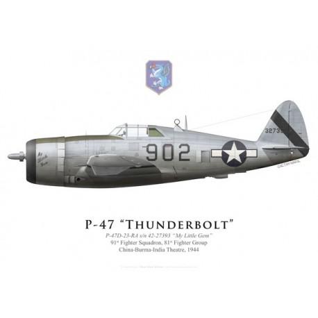 """P-47D Thunderbolt """"My Little Gem"""", 91st FS, 81st FG, 1944"""